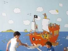 Korsan Desenli Çocuk Duvar Kağıdı   Duvar Kağıdı
