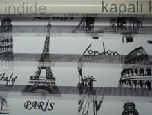 Paris Roma Baskılı Zebra Perde | Perde